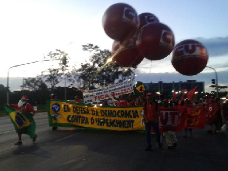 La direction de la CUT «mobilise» contre l'impeachment, à Brasilia, en décembre 2015