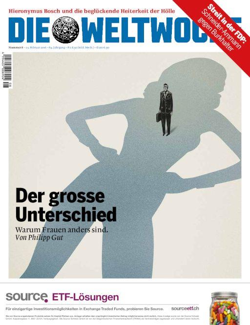 «La grande différence. Pourquoi des femmes sont différentes»: la Une de «Die Weltwoche», 24 février 2016, l'hebdomadaire de l'intelligentsia que l''UDC travaille au «corps» et/ou au «cerveau», avec son directeur Roger Köppel, conseiller national UDC de Zurich.
