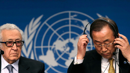 Les «premières négociations de paix», en janvier 2014, à Montreux-Genève, sous l'égide Lakhdar Brahimi et Ban Ki-moon