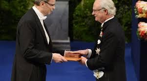 «Le Toulousain Jean Tirole a reçu le prix Nobel 2014 d'économie des mains du roi de Suède Carl XVI Gustaf à Stockholm»