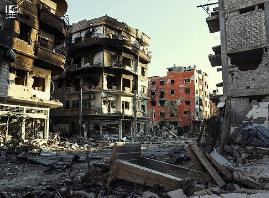 Destructions à Darayya, ville de la banlieue sud de Damas, le 19 janvier 2016 (crédits: Lens of Young Damascene)