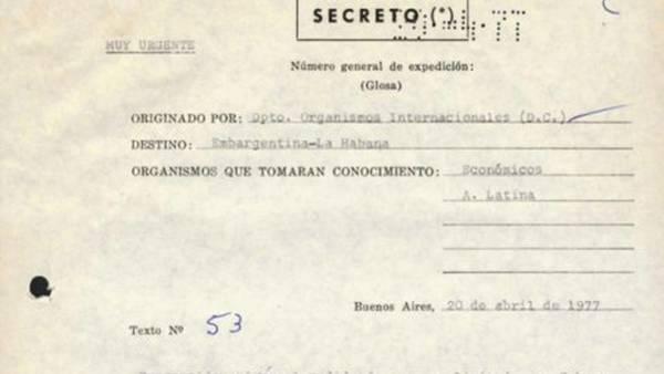 Document de la Chancellerie d'Argentine indiquant les relations entre Videla et Castro