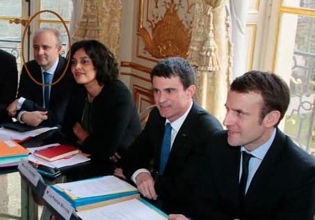 Pierre-André Imbert, Myriam El Khomri (ministre du travail), Manuel Valls (premier ministre) et Emmanuel Macron (ministre de l'économie), lors de l'entrevue avec la CFDT, le 7 mars 2016.