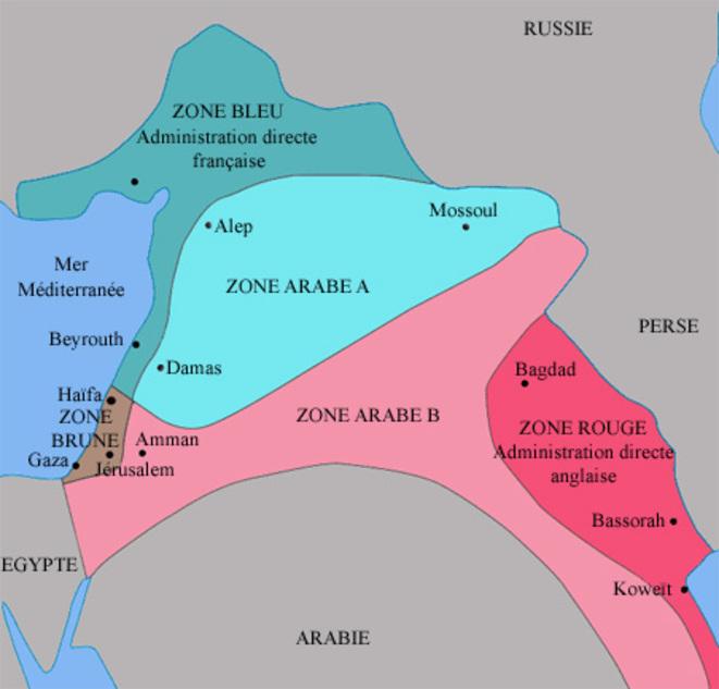 Carte du de?coupage du Moyen-Orient suivant les accords Sykes-Picot
