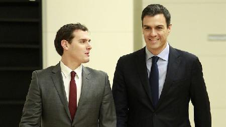 Albert Rivera (Cuidadanos) et Pedro Sánchez (PSOE)