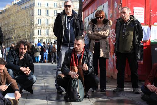Jérôme, salarié de Renault Guyancourt, venu organiser une action commune avec les occupants de la place de la République.