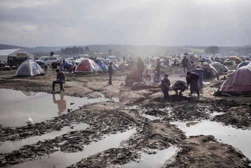 Le camp d'Idomeni, au nord de la Grèce, fin avril 2016