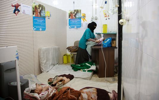 Un hôpital clandestin dans l'est d'Alep, le 9 juin. karam al-masri
