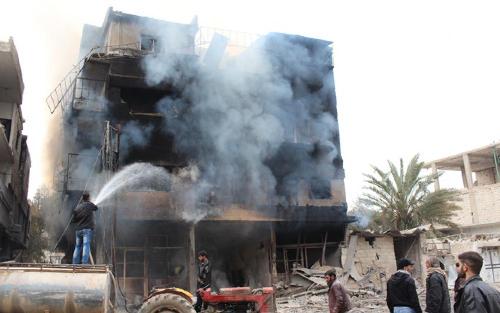 Daraya bombardée