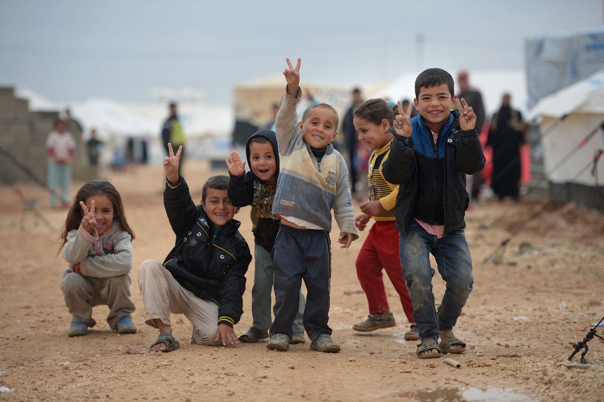 Des enfants à la recherche d'un «petit boulot» dans une camp de Zaatari....