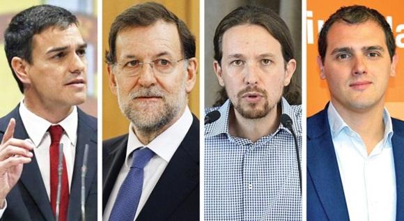 Sanchez (PSOE), Rajoy (PP), Iglesias (Unidos Podemos), Rivera /Ciudadanos)