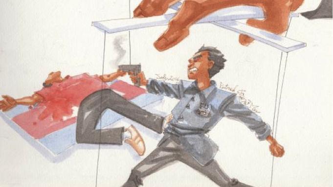 Le meurtre de Kem Ley: caricature de Patrick Samnang Mey publiée dans le «Phnom Penh Post» lundi 25 juillet 2016