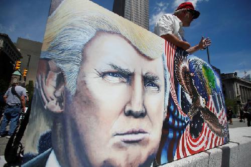 L'œuvre d'art d'un supporter de Donald Trump, à Cleveland