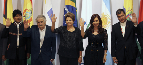 Mars 2013: Evo Morales, Pepe Mujica, Dilma Rousseff, Cristina Kirchner, Rafael Correa