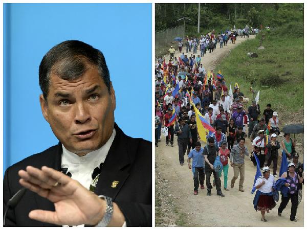 Août 2015: Rafael Correa face à la marche indigène