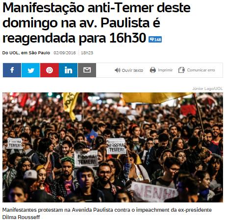 Manifestation contre Michel Temer sur l'avenue Paulista