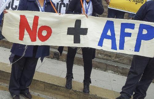 Manifestation en août 2016, au Chili, contre le système privé de retraite