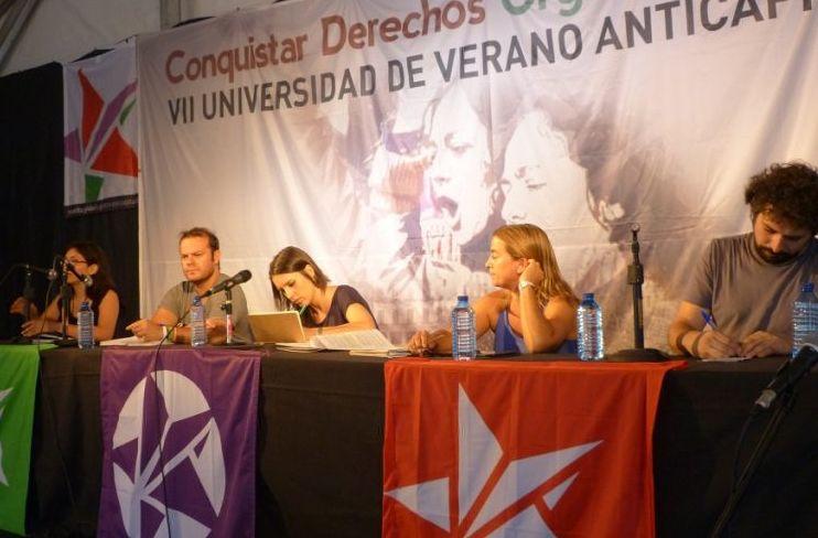 Raul Camargo (Anticapitalistas), Irene Montero (Podemos), Sonia Farré (En Comu Podem) et José Sarrion (Izquierda Unida. / S.D.