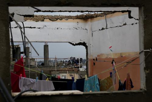 Vue d'un «appartement» détruit durant l'opération «Bordure protectrice» (Photographie de Gisha)