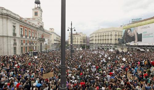 Manifestation sur la Puerta del Sol, le 29 octobre 2016