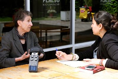 Silvia Federici lors de l'entretien avec Mari Cruz Tornay Márquez