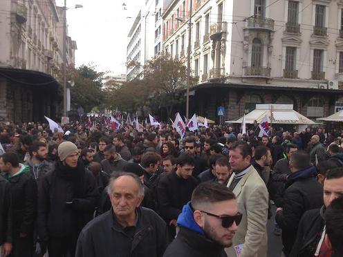 Manifestants fu PAME le 8 décembre 2016