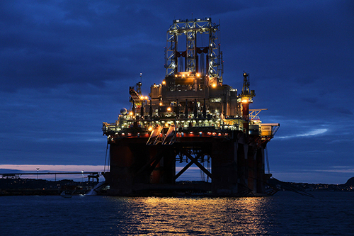 Oil rig construction in Norway