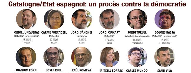 Catalogne/Etat espagnol. «Un procès contre la démocratie»