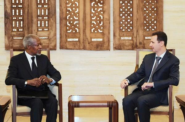 Kofi Annan and Syrian President Bashar Assad meet in Damascus.
