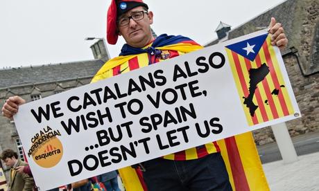 Catalan supporter near the parliament buildings in Edinburgh