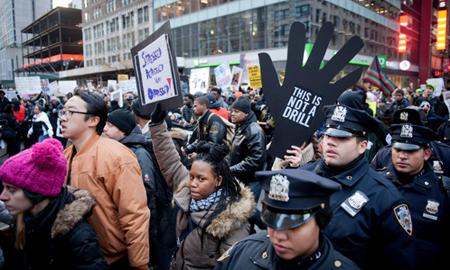 Anti-police violence protest, New York, America – 13 Dec 2014